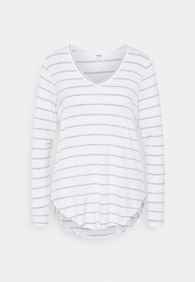 KARLY LONG SLEEVE  - Long sleeved top - white/grey marle
