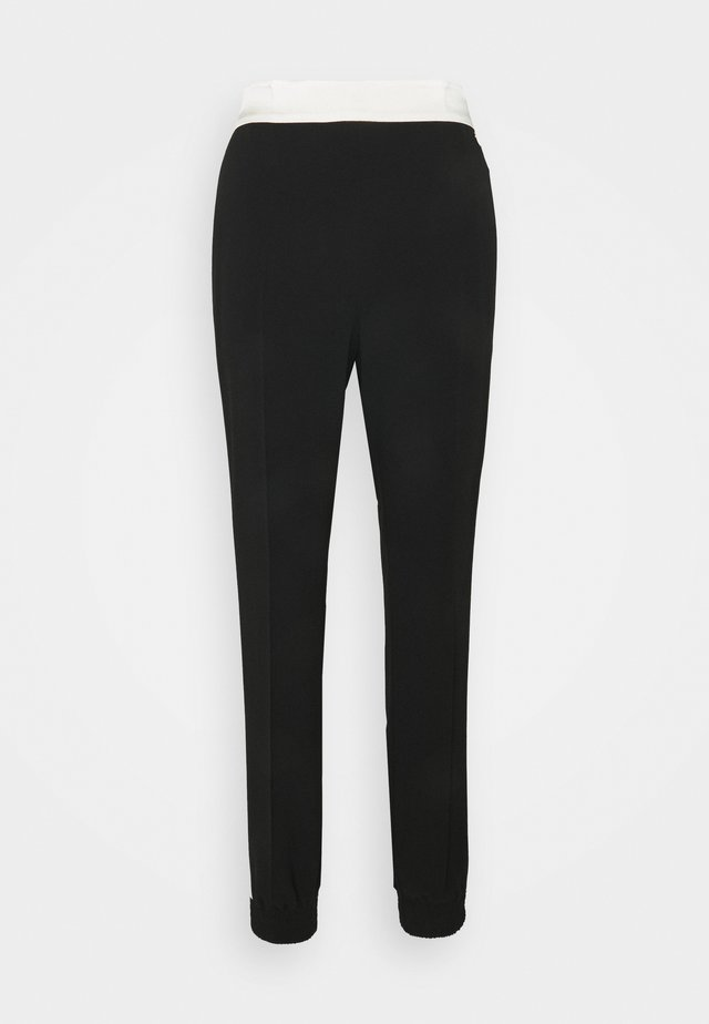 PANTALONE IN CADY BICOLOR - Trousers - bic nero/neve