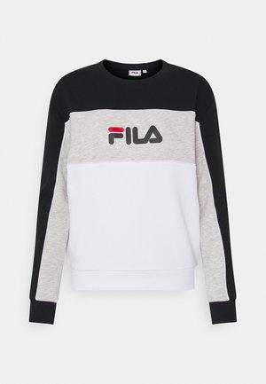 AMINA BLOCKED CREW - Sweatshirt - bright white/black/light grey melange
