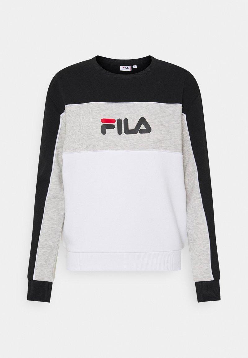 Fila - AMINA BLOCKED CREW - Felpa - bright white/black/light grey melange