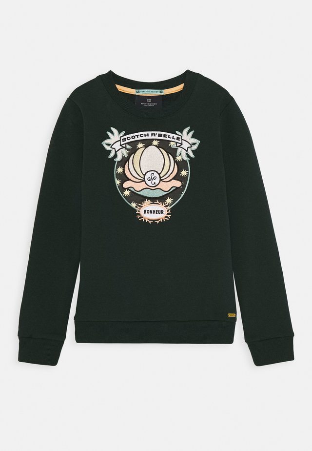 CREWNECK WITH SHELL EMBROIDERY - Sweatshirt - lagoon green