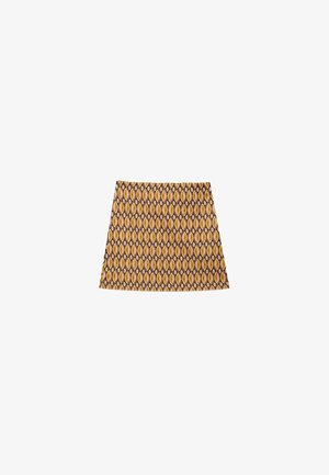 MIT JACQUARDMUSTER - Mini skirt - light brown