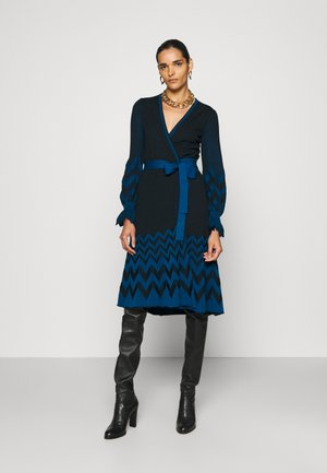 CHELSEY DRESS - Jumper dress - black/harringbone dark ocean