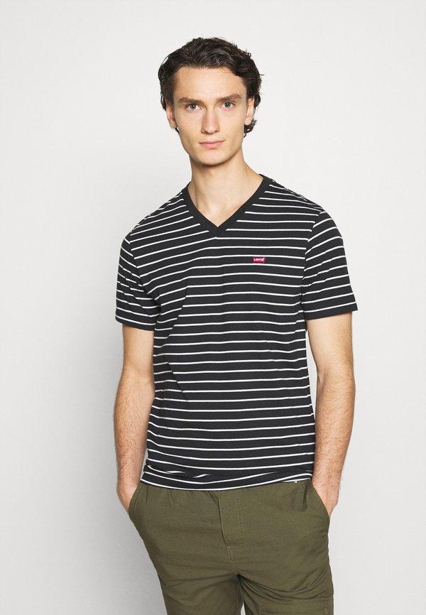 Levi's® VNECK - T-shirt z nadrukiem - jet black/czarny Odzież Męska SITQ