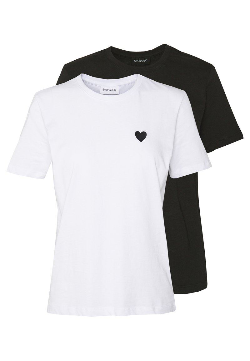 Even&Odd - 2PACK - Basic T-shirt - white/black
