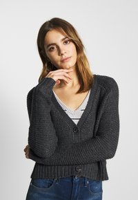 American Eagle - CROPPED SLOUCHY TEXTURE CARDIGAN - Vest - charcoal - 3
