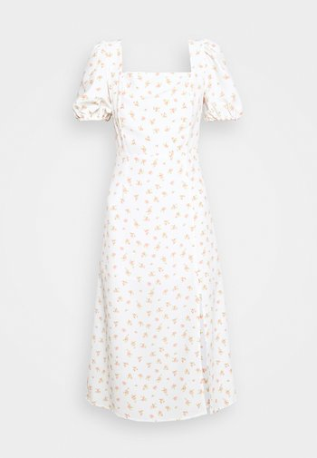 TIE BACK MIDI DRESS WITH PUFF SHORT SLEEVES SQUARE NECKLINE - Kjole - white/pink