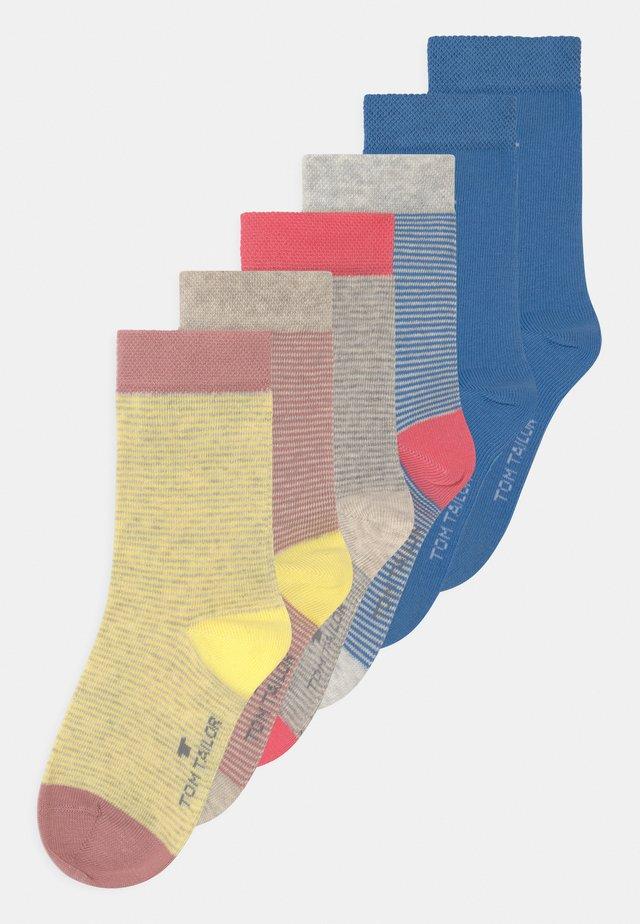 THIN STRIPES BASIC 6 PACK UNISEX - Socks - rose/sea blue/grey melange