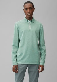 Marc O'Polo - LONG SLEEVE FLATLOCK DETAILS - Polo shirt - green bay - 0