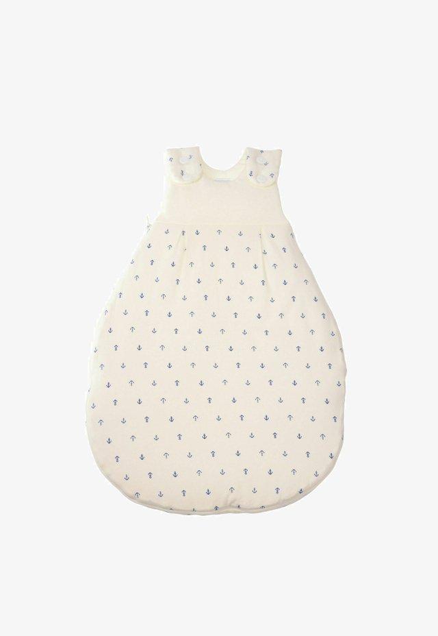 Baby's sleeping bag - weiss mit aop blauer anker
