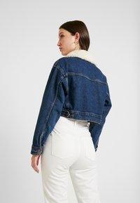 Topshop - CROP BORG JACKET - Denim jacket - blue denim - 2