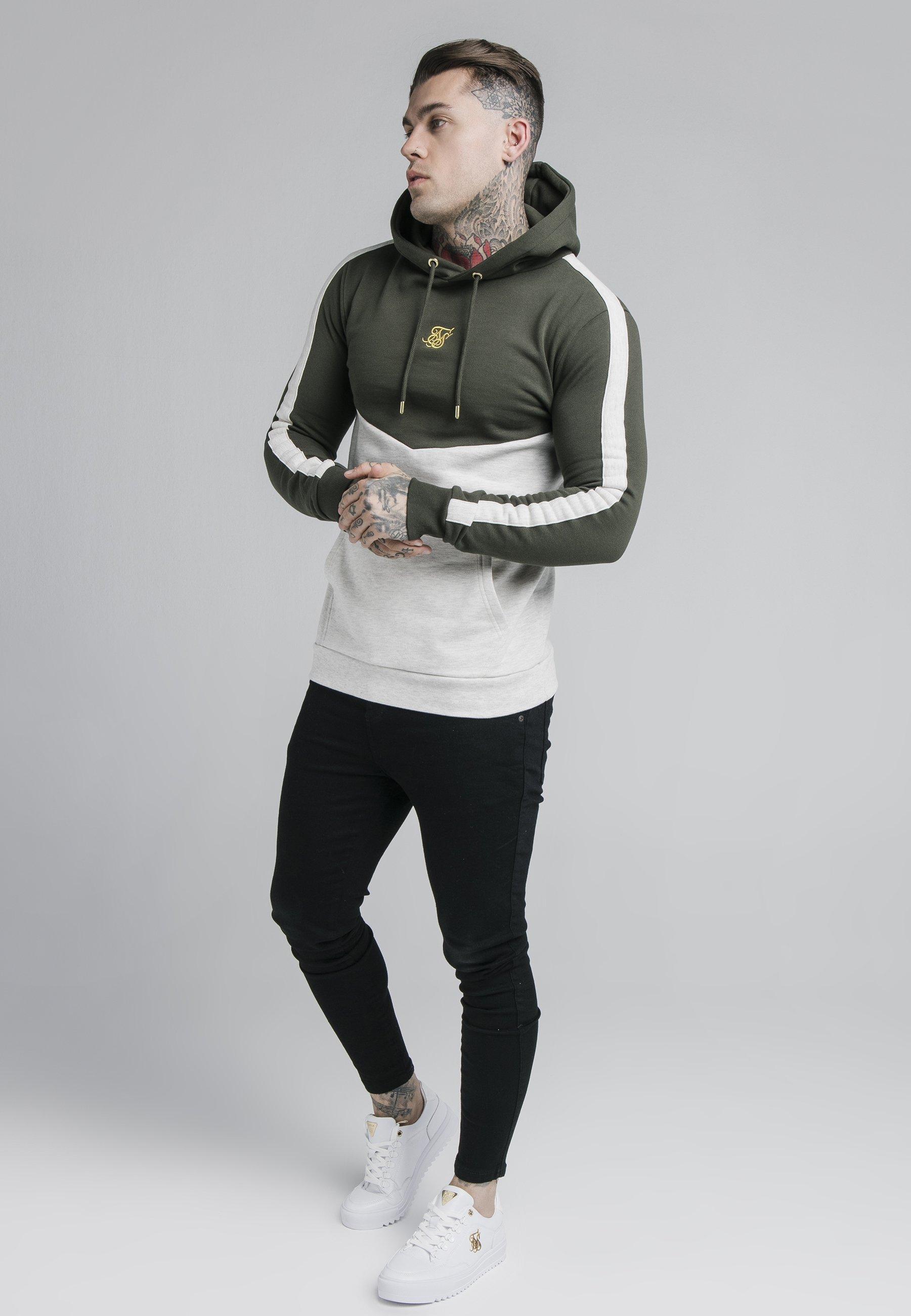 Siksilk Cut And Sew Overhead Hoodie - Khaki/snow Marl/khaki