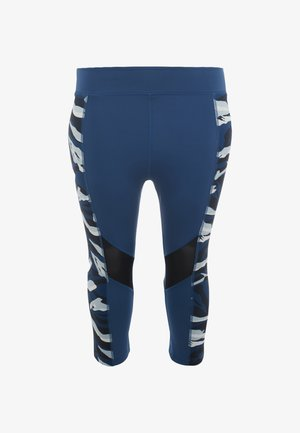 ABSTRACT ANIMAL PRINT PANEL CROPPED LEGGINGS CURVE - Pantalón 3/4 de deporte - blue