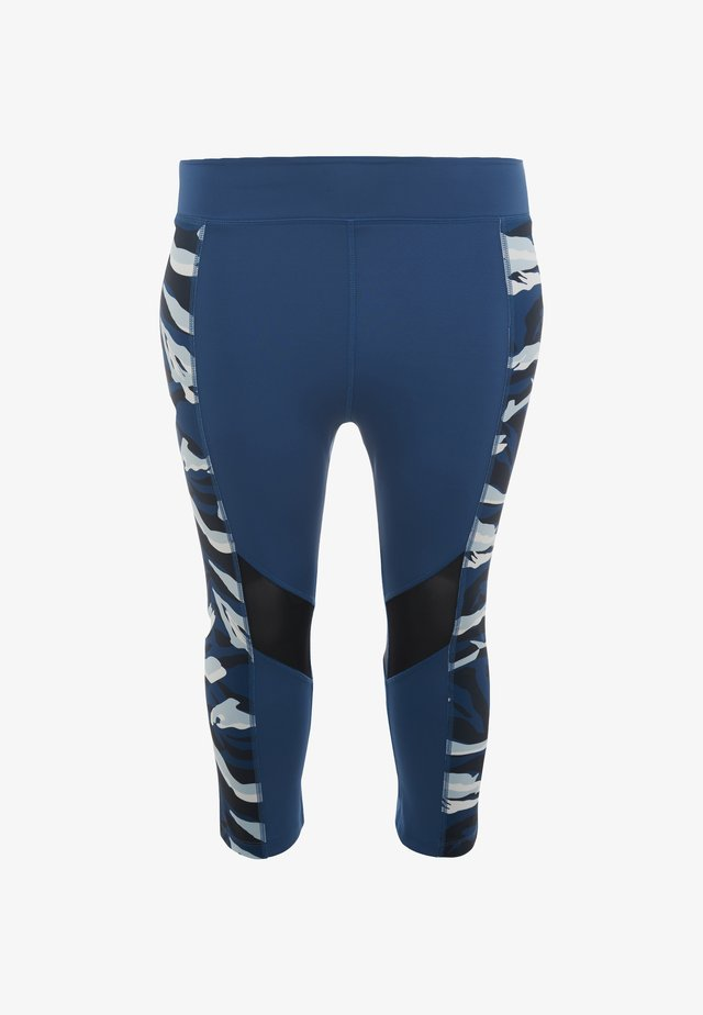ABSTRACT ANIMAL PRINT PANEL CROPPED LEGGINGS CURVE - 3/4 sports trousers - blue