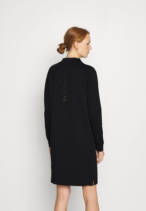 FUNNEL NECK LOGO DRESS - Shift dress - black