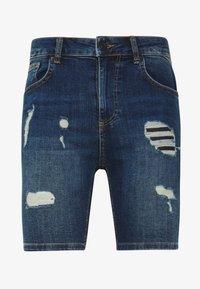 11 DEGREES - RIP AND REPAIR  - Denim shorts - mid blue - 4