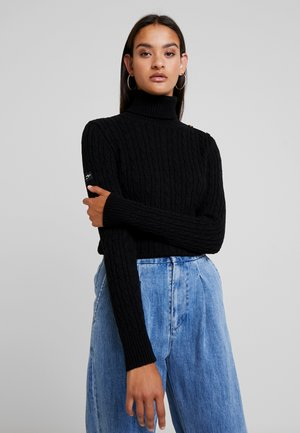 CROYDE CABLE ROLL NECK - Svetr - black