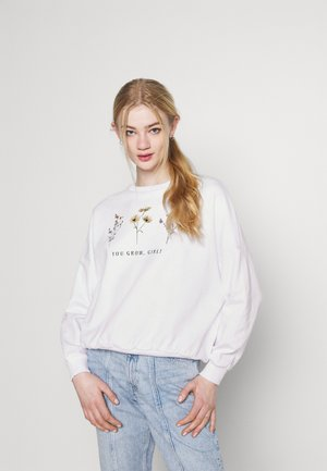 flower printed sweater - Sweatshirt - white