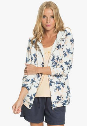 DIVE DEEP  - Zip-up hoodie - snow white aqua ditsy