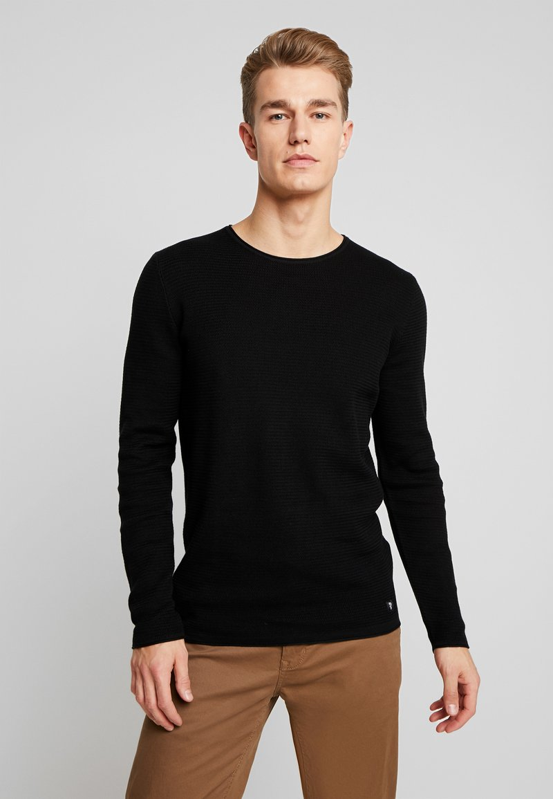 TOM TAILOR DENIM - ZIGZAG STRUCTURED CREWNECK - Stickad tröja - black
