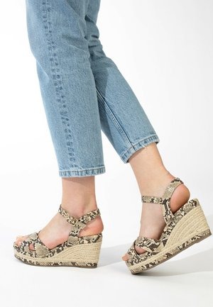 CHELSEY - Wedge sandals - beige melange