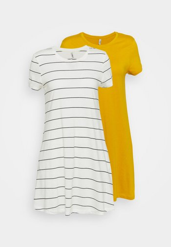 ONLMAY LIFE POCKET DRESS 2 PACK - Jerseykjole - golden spice/cloud dancer/night