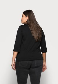 MY TRUE ME TOM TAILOR - WITH VNECK - Topper langermet - deep black - 2