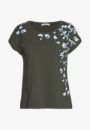 SHOULDER - Print T-shirt - khaki green