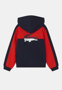 Lacoste - LOGO BLOCK - Zip-up hoodie - navy blue/redcurrant bush - 1
