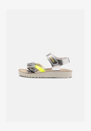 COSTAREI - Sandals - silver/fluorescent yellow