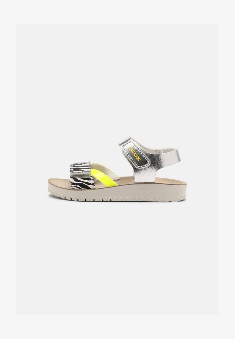 Geox - COSTAREI - Riemensandalette - silver/fluorescent yellow