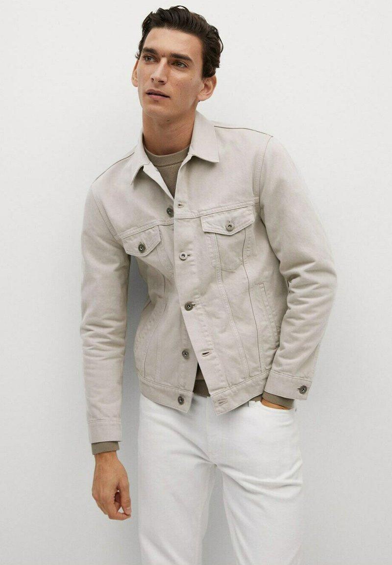 Mango - RYAN - Veste en jean - beige