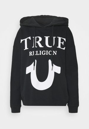 HOODY OVERSIZED TRUE LOGO PUFFY PRINT - Sweatshirt - black