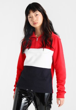 LADIES COLOR BLOCK  - Hoodie - firered/navy/white