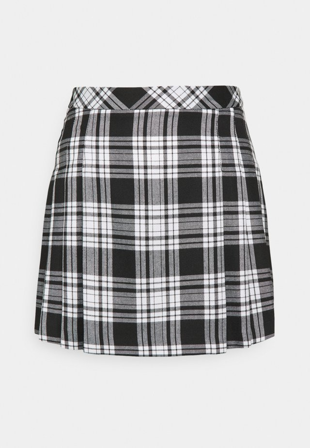 CHECK KILT SKIRT - Minigonna - black