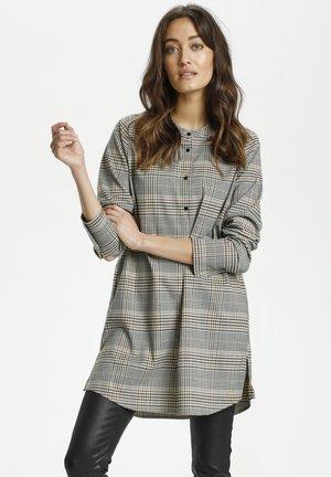 Button-down blouse - macadamia check