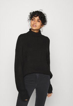 BASIC- Roll neck- long line - Svetr - black