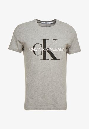 ICONIC MONOGRAM SLIM TEE - Triko s potiskem - heather grey