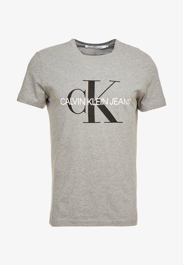 Calvin Klein Jeans ICONIC MONOGRAM SLIM TEE - T-shirt z nadrukiem - heather grey/szary Odzież Męska FYVL