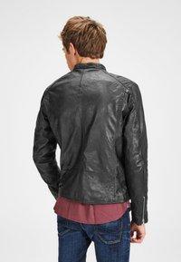 Jack & Jones - BIKER-STYLE - Leather jacket - black - 2