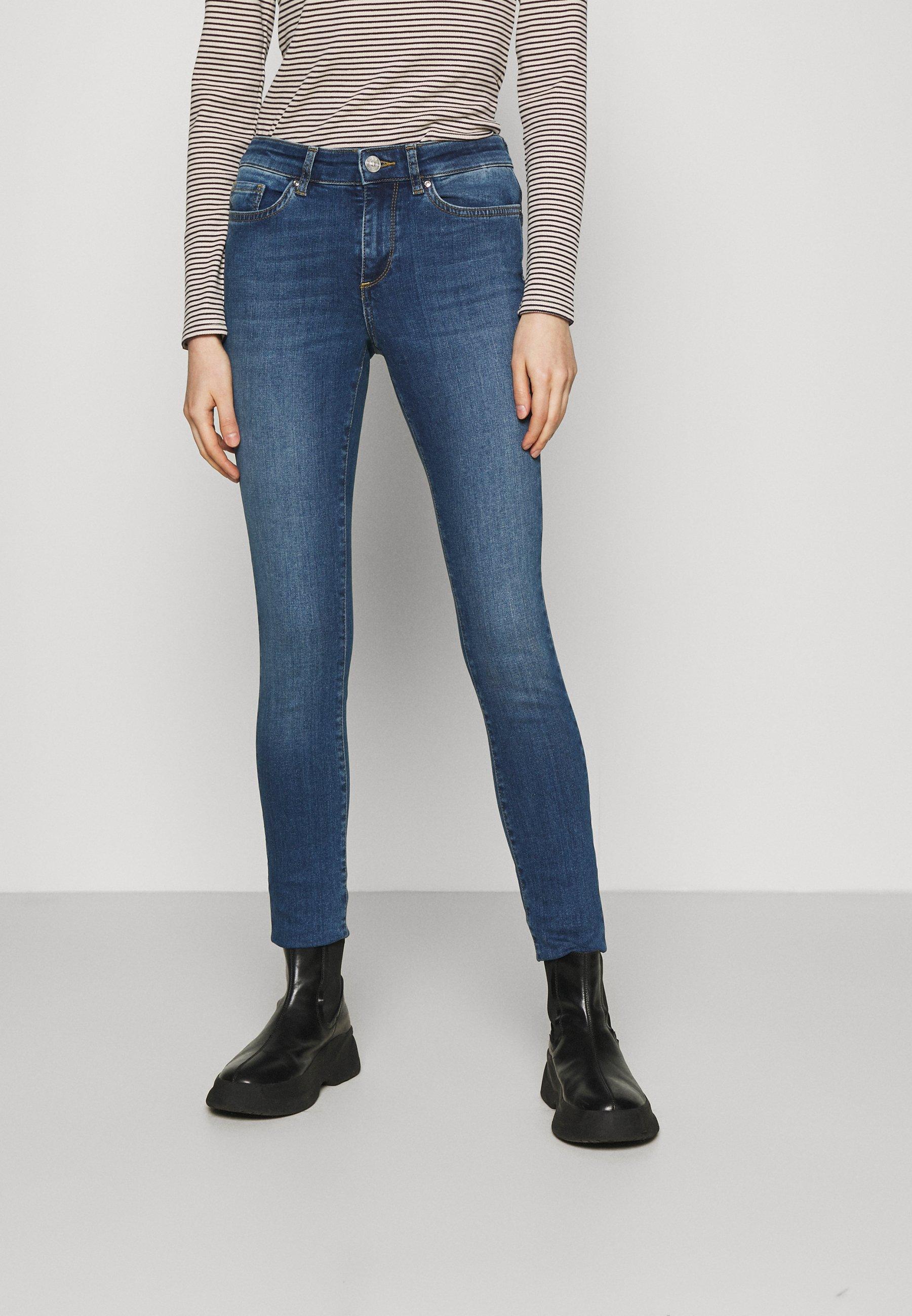 Women ONLANNE MID CURVED YOKE - Jeans Skinny Fit - medium blue