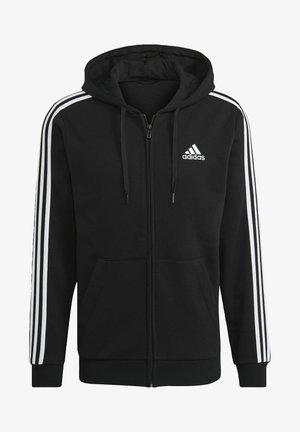 3 STRIPES FLEECE FULL ZIP ESSENTIALS SPORTS TRACK JACKET HOODIE - Zip-up sweatshirt - black