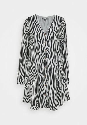 BUTTON THRU SMOCK DRESS ZEBRA - Day dress - black