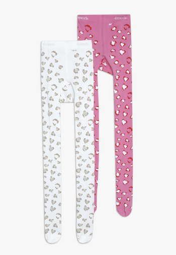 LEOPARD 2 PACK - Tights - pink/creme