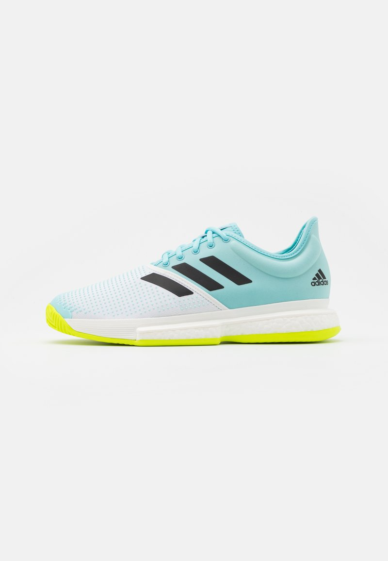 adidas Performance - SOLECOURT PRIMEBLUE - Tennisschoenen voor alle ondergronden - footwear white/core black/solar yellow