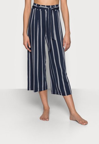 CULOTTE STRIPE - Trousers - navy/weiß