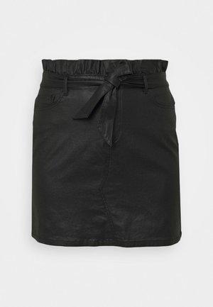 COATED PAPERBAG WAIST SKIRT - Miniskjørt - black
