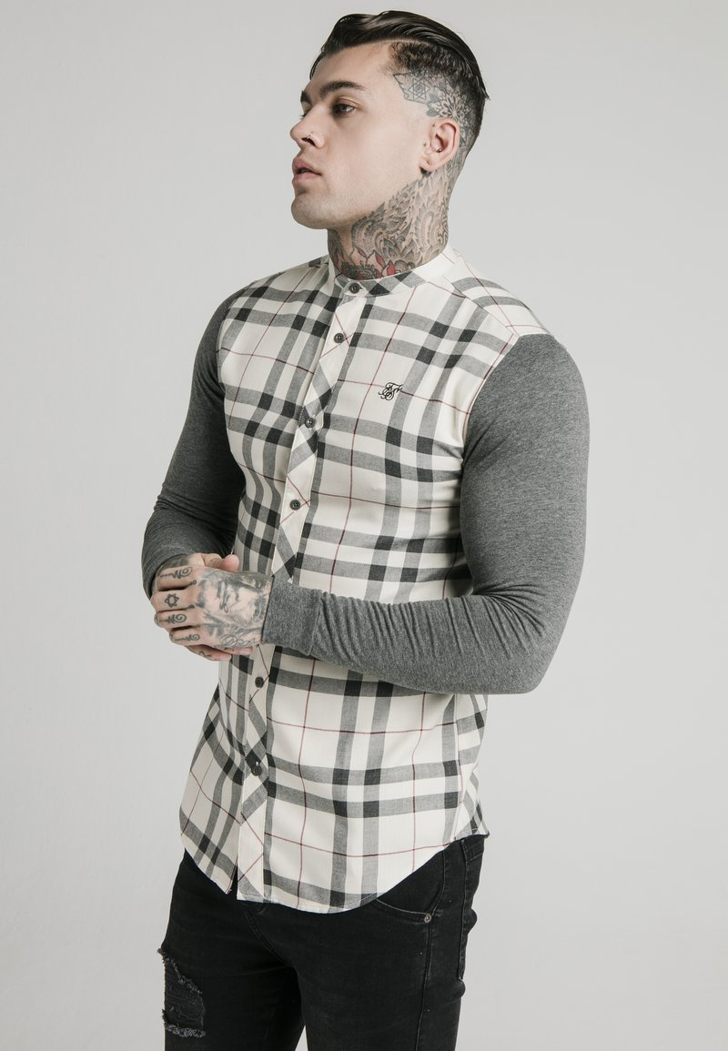 SIKSILK - GRANDAD  - Shirt - off-white/grey