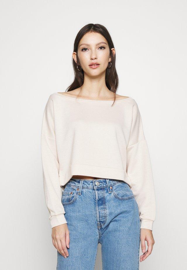 OFF SHOULDER CROP - Sweatshirt - beige