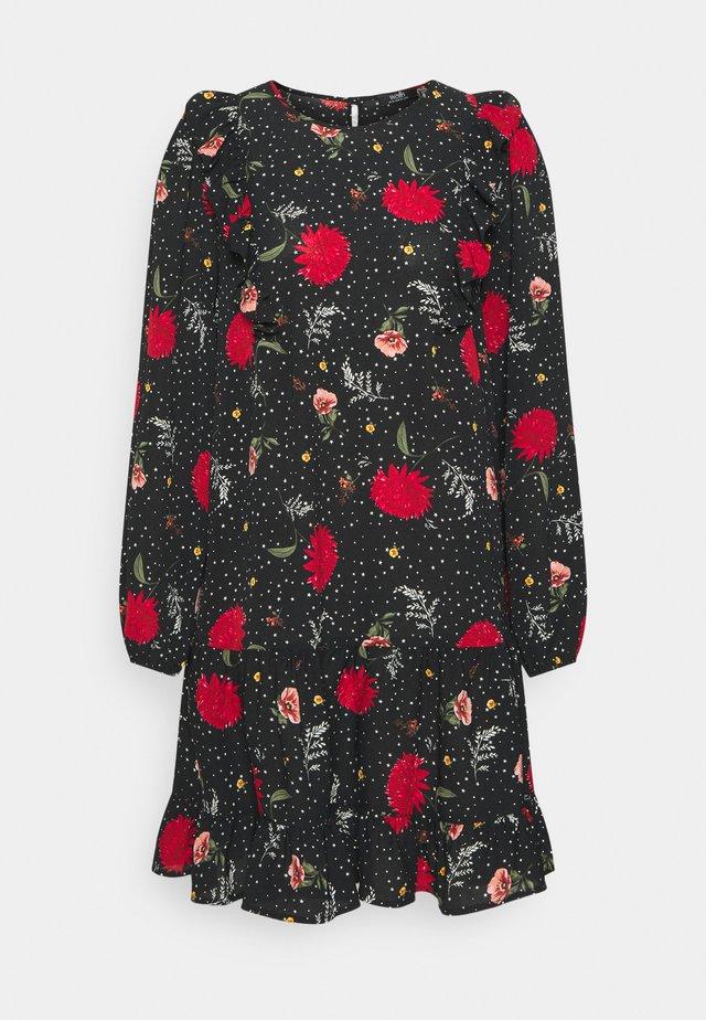 STAR FLOWER RUFFLE SWING DRESS - Korte jurk - black